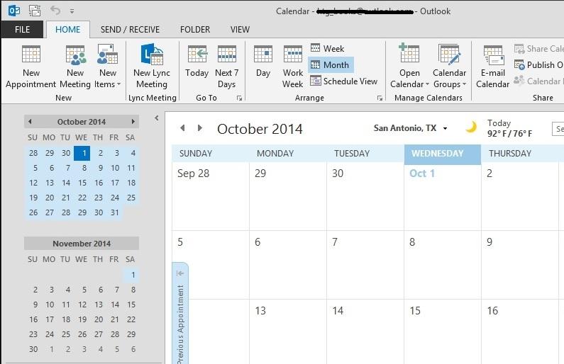 حذف مناسبتها از تقویم Microsoft Outlook 2013