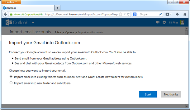انتقال ایمیلها و مخاطبان موجود در Gmail به Outlook.com