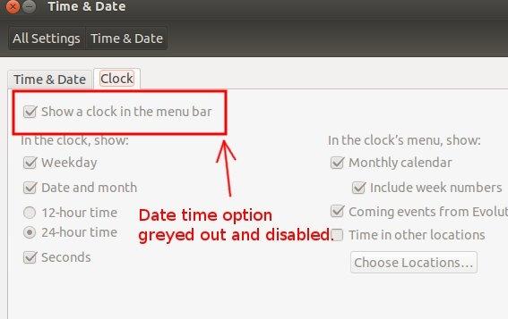 رفع مشکل حذف شدن ساعت و تاریخ از نوار Menu در Ubuntu 13.10