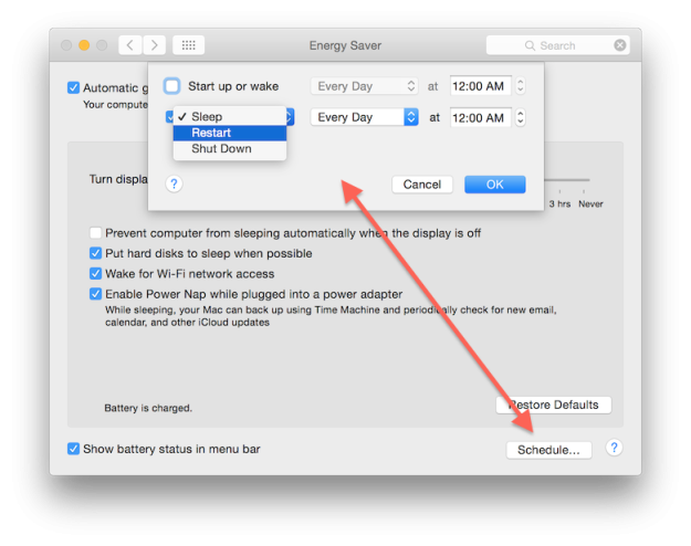 تنظیم روشن یا خاموش کردن خودکار رایانه در سیستم عامل Mac