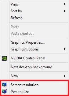 حذف گزینههای Gadgets،Screen Resolution و Personalize از منوی راستکلیک دسکتاپ