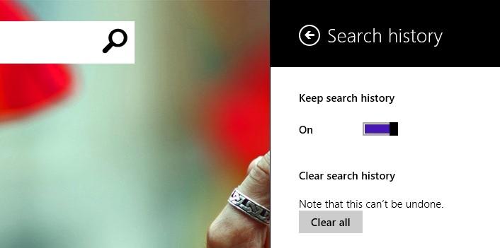 پاک کردن تاریخچهی جستجوها در اپلیکیشن Bing ویندوز 8