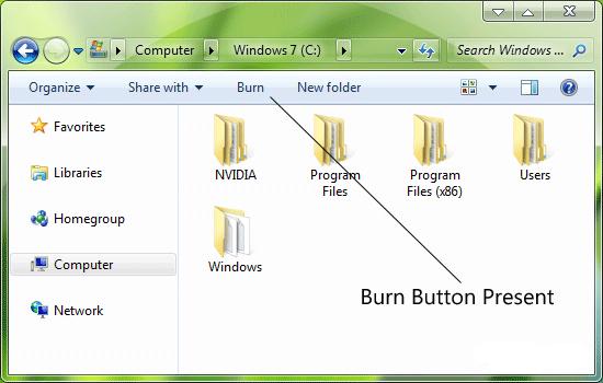 حذف دکمهی Burn از محیط اکسپلورر ویندوز 7