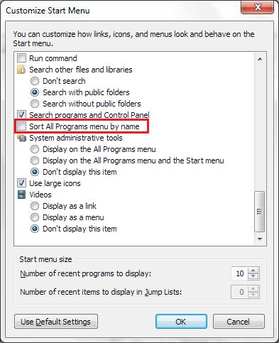 تغییر نوع چینش برنامهها در منوی Start ویندوز 7