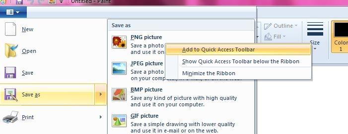 ذخیرهی سریع تصاویر با فرمت دلخواه در نرمافزار Paint