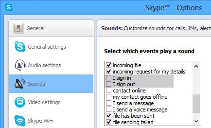 غیرفعال کردن صدای Sign In و Sign Out در Skype