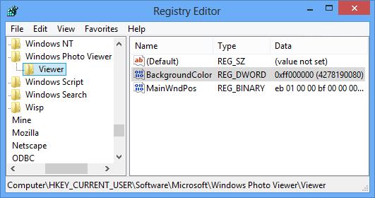 نحوهی تغییر رنگ پشتزمینهی Windows Photo Viewer از طریق رجیستری