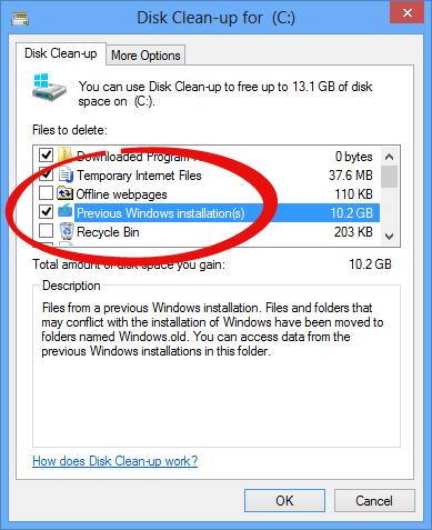 پاک کردن فایلهای ویندوز قبلی پس از ارتقا به ویندوز 8