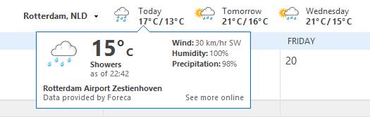 تغییر دمای هوا به سانتیگراد در Outlook 2013