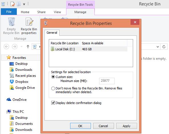 فعال کردن نمایش پنجرهی تأییدیه حذف در ویندوز 8