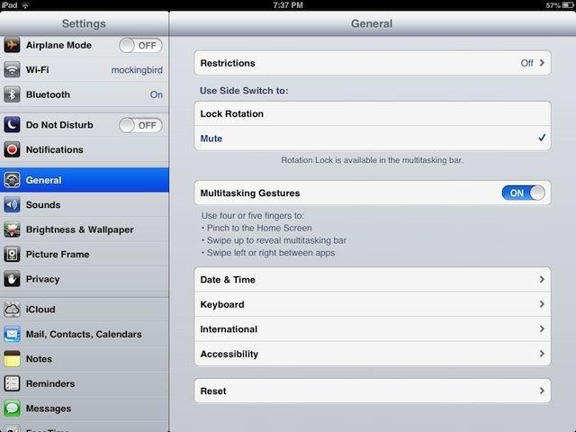 غیرفعال کردن عملکرد 5 انگشتی در iPad