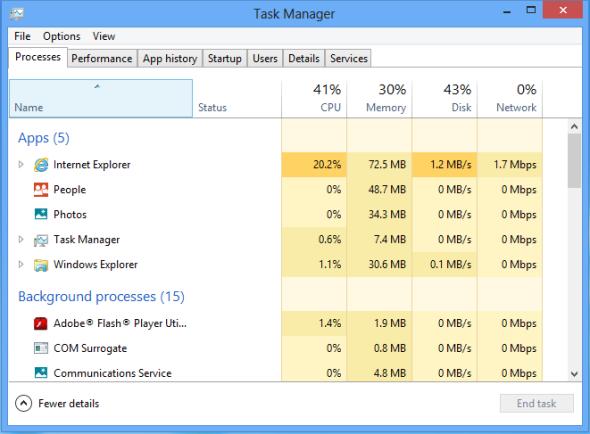 بهینهسازی Task Manager ویندوز 8