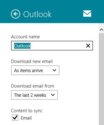 تغییر عنوان حساب ایمیل در اپلیکیشن Mail ویندوز 8