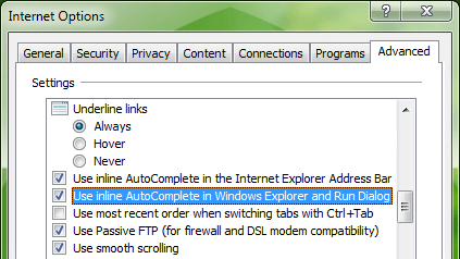 نحوه فعال کردن قابلیت Inline AutoComplete در محیط ویندوز اکسپلورر