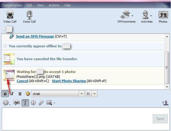 ارسال سریع عکس گرفتهشده از صفحه نمایش از طریق یاهو مسنجر