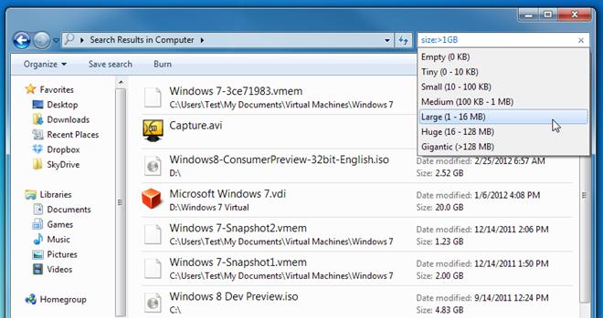 جستجوی فایلها بر اساس تاریخ و اندازه در محیط اکسپلورر ویندوز
