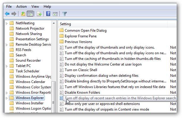 غیرفعال کردن لیست موارد جستجوی اخیر در ویندوز 7 و 8