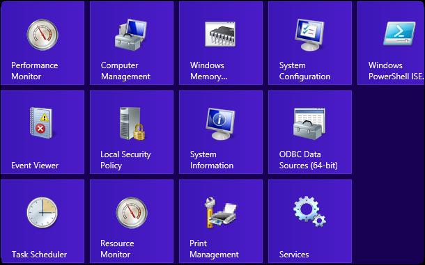 نحوهی  نمایش Administrative Tools در صفحهی  Start «ویندوز 8»