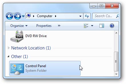 نحوه افزودن Control Panel به پنجره Computer