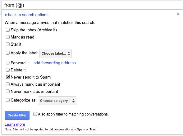 جلوگیری از تشخیص اشتباه هرزنامهها در Gmail