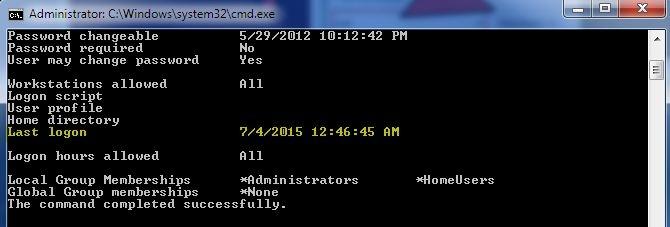 پی بردن به آخرین تاریخ و زمان ورود به حسابهای کاربری ویندوز از طریق CMD