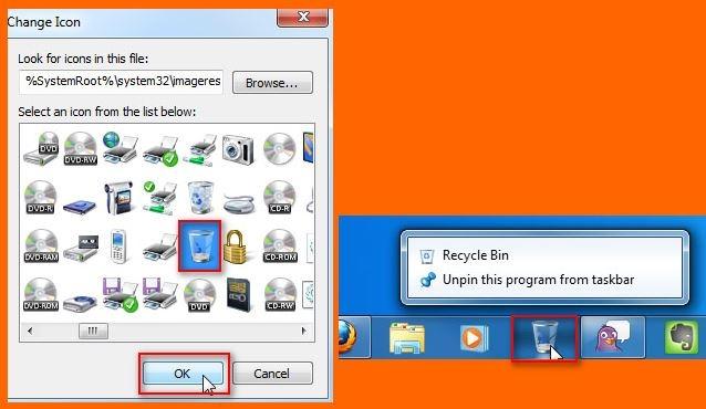 افزودن سطل آشغال به تسکبار ویندوز 7