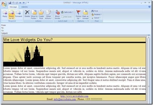افزودن تصویر پشتزمینه به ایمیل در Outlook 2007