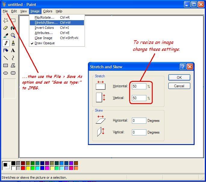 تغییر اندازه تصویر به وسیله Paint ویندوز XP به شکلی سریع