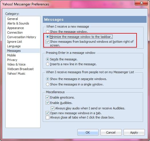 فعال کردن یک امکان جالب در نرمافزار Yahoo Messenger