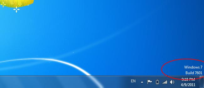 نمایش ورژن ویندوز بر روی صفحهی دسکتاپ
