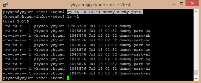 تکه تکه کردن فایلها در لینوکس
