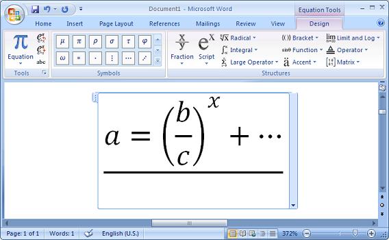 فارسینویسی اعداد و حروف در قسمت فرمولنویسی Microsoft Word