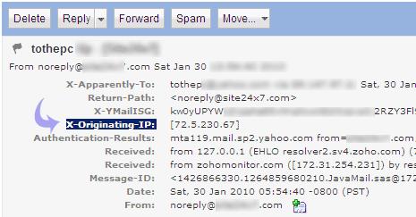 پیدا کردن IP فرستندهی ایمیل در یاهو میل