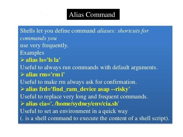 دستور alias در گنو/لینوکس