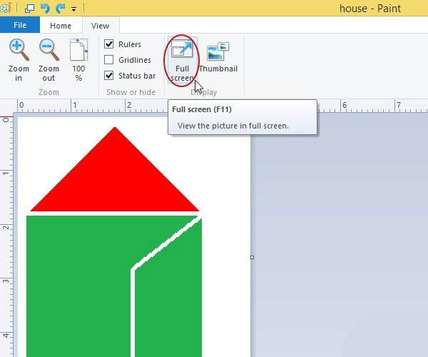 مشاهده تصویر به شکل تمامصفحه در نرمافزار Paint