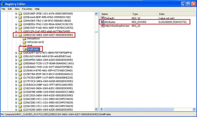 تبدیل ویژگیهای فولدرهای خاص به فولدرهای معمولی در ویندوز XP