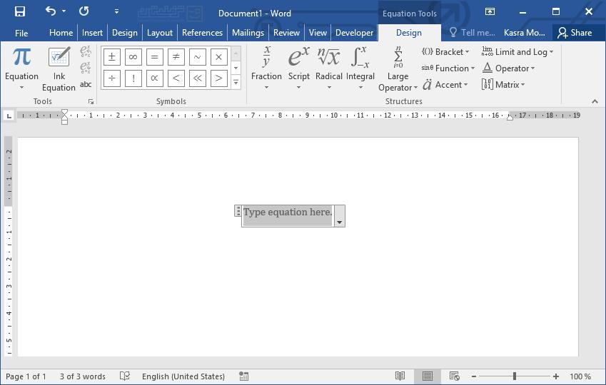 تایپ سریع فرمولهای ریاضی در Word 1