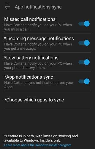 up.php?file=149994595627899 android cortana settings notifications selection - نمایش نوتیفیکیشنهای اندروید بر روی ویندوز 10