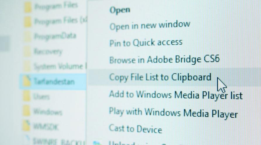 کپی لیست فایلهای موجود در یک پوشه با راستکلیک بر روی آن