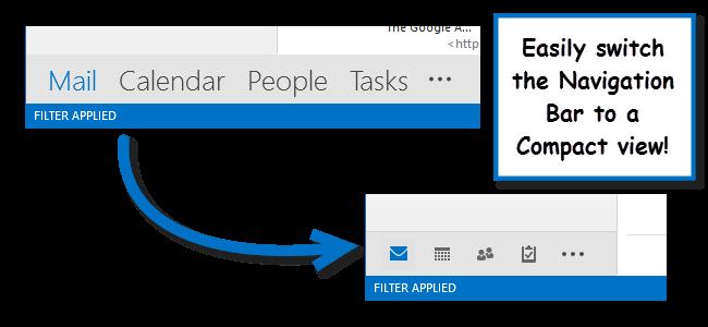 کوچک کردن نوار Navigation در Microsoft Outlook 2013
