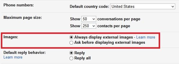 غیرفعال کردن نمایش خودکار تصاویر موجود در Gmail