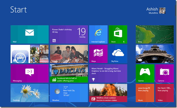 بازگردانی صفحهی Start ویندوز 8 به حالت اولیه