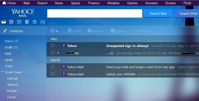 تغییر تصویر پشتزمینه در ظاهر جدید سرویس ایمیل یاهو