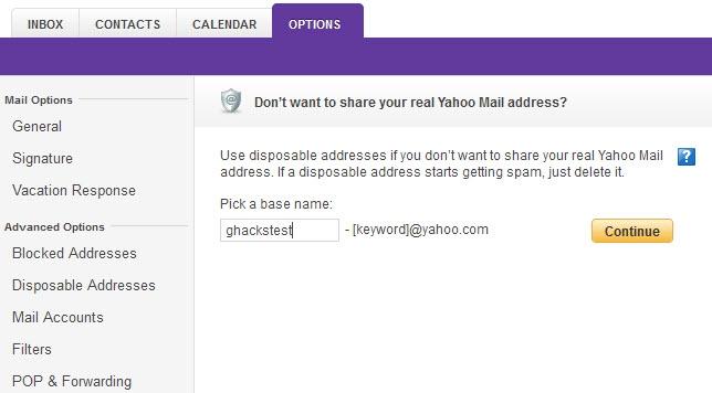 ساخت آدرس ایمیل مجازی در یاهو