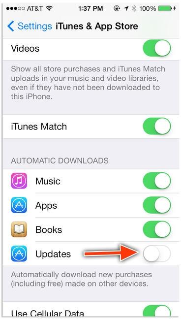 غیرفعالسازی به روزرسانی خودکار اپلیکیشنها در iOS 7