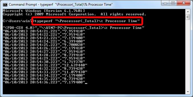 مشاهدهی میزان مصرف CPU به صورت زنده توسط CMD