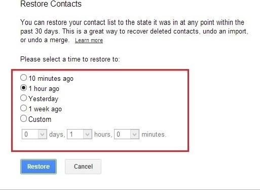بازگردانی مخاطبان حذف شده در Gmail
