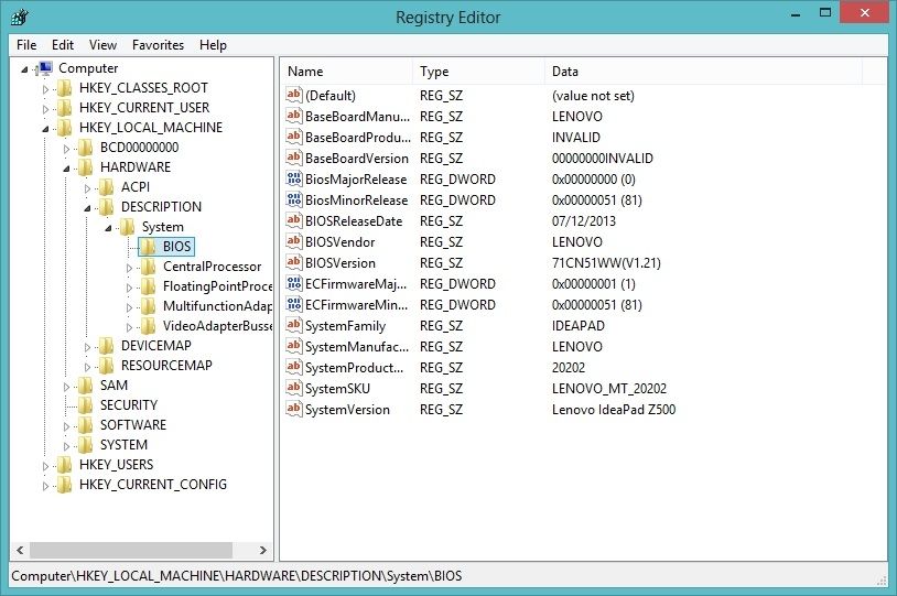 پی بردن به اطلاعات BIOS از طریق رجیستری