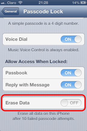 پاک کردن کلیه اطلاعات دستگاه پس از 10 بار اشتباه وارد کردن رمز عبور در iOS