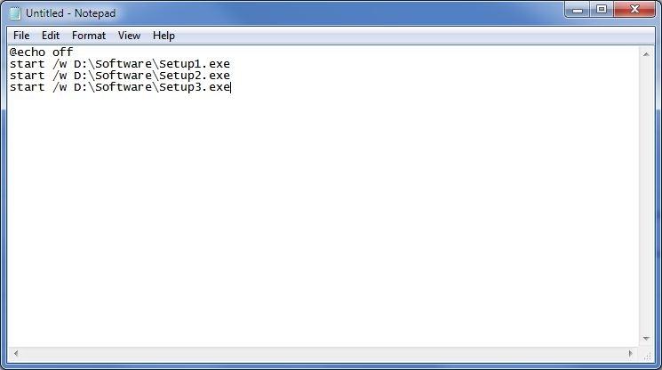 نصب به نوبت نرمافزارها به وسیلهی ساختن یک فایل Batch